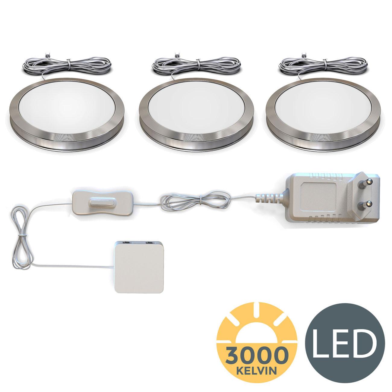 LED Unterbauleuchten Schrankleuchten rund | 3er Set - 3