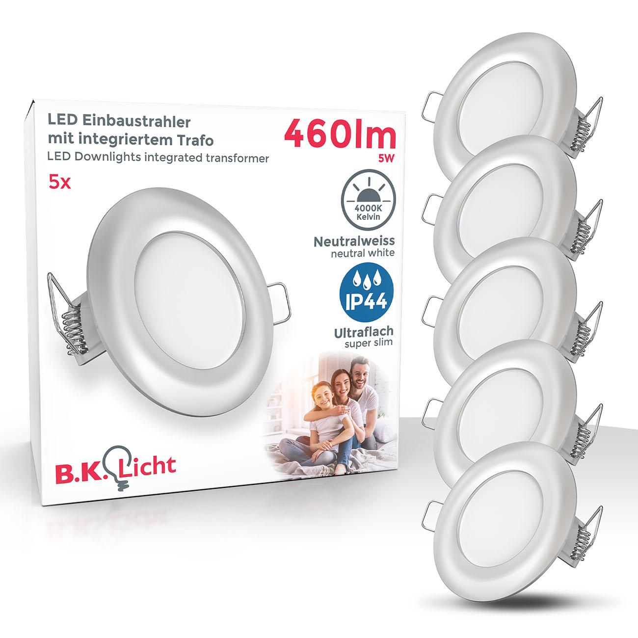 LED Einbaustrahler | Bad Einbauleuchte 5er SET | ultra flach 5W IP44