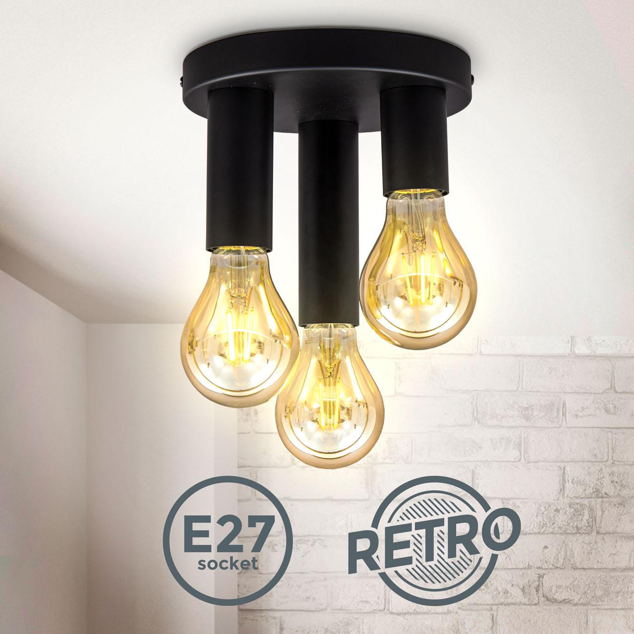 Vintage Deckenleuchte 3-flammig Metall schwarz E27 - 3