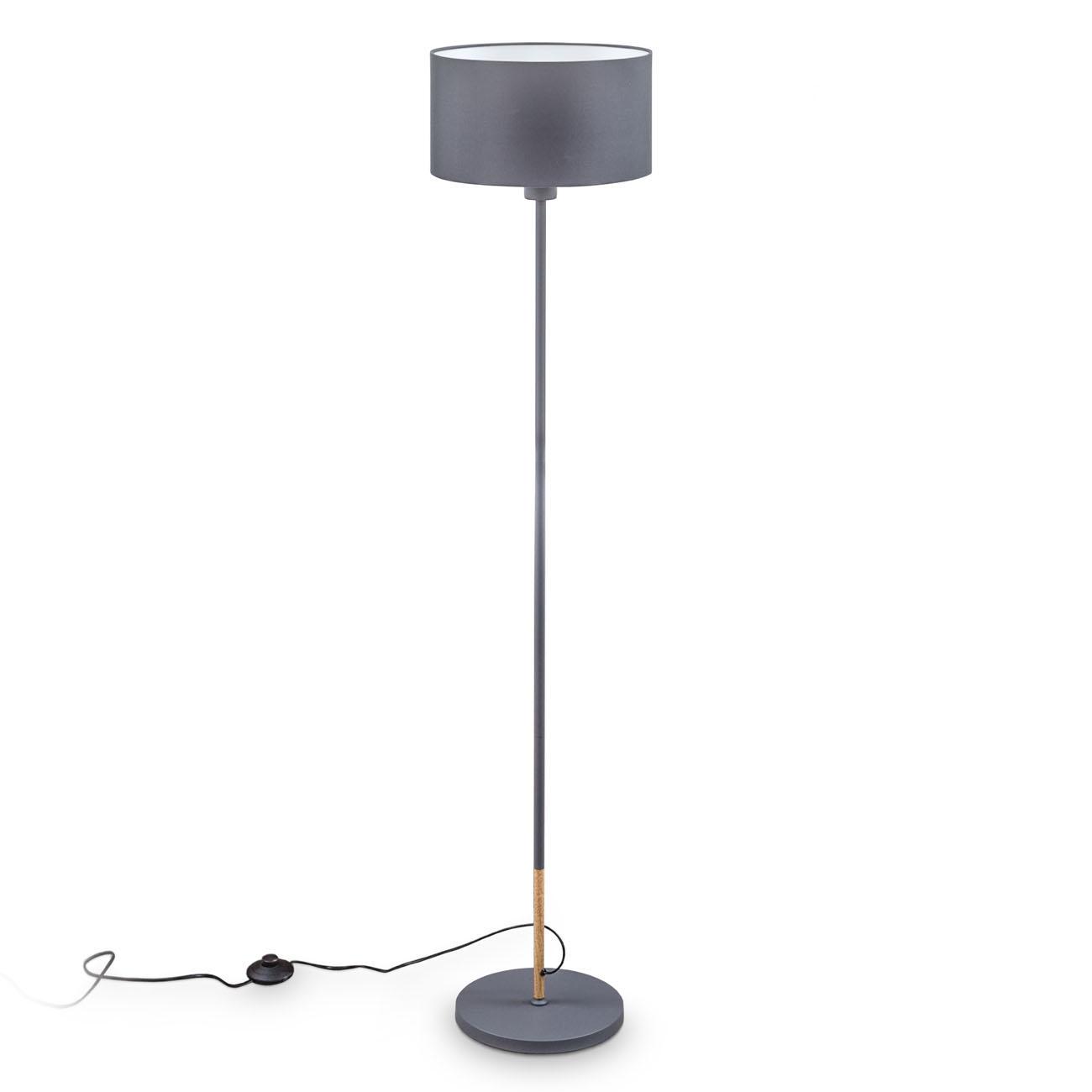 Stehlampe mit grauen Stoffschirm E27