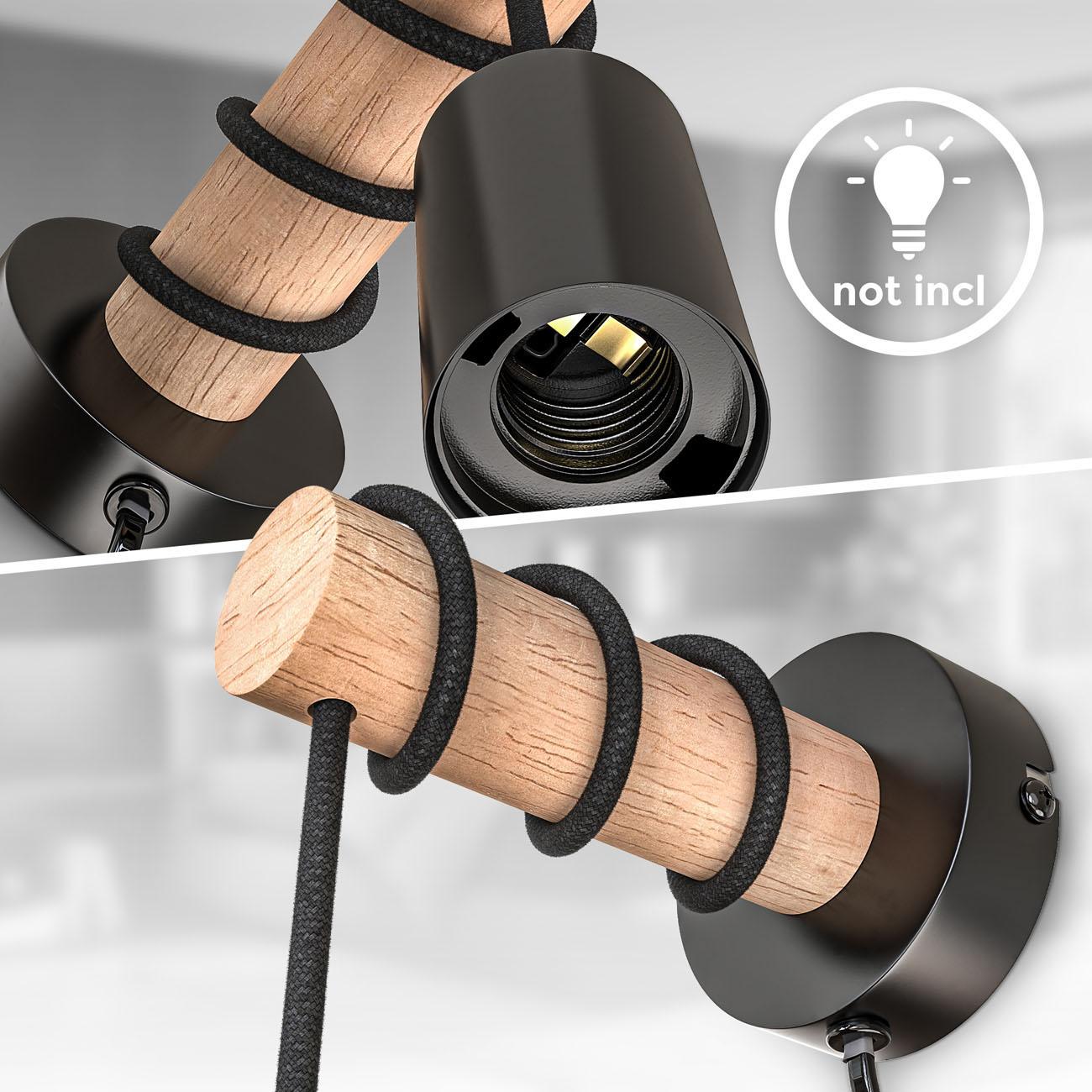Retro Wandleuchte Metall-Holz-Optik mit Schalter schwarz E27  - 4