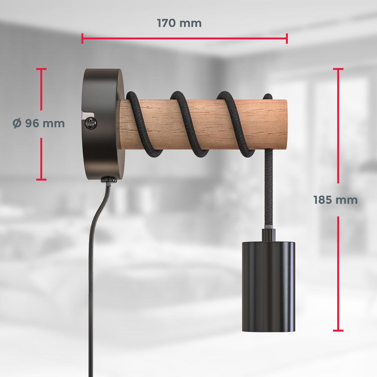 Retro Wandleuchte Metall-Holz-Optik mit Schalter schwarz E27  - 6