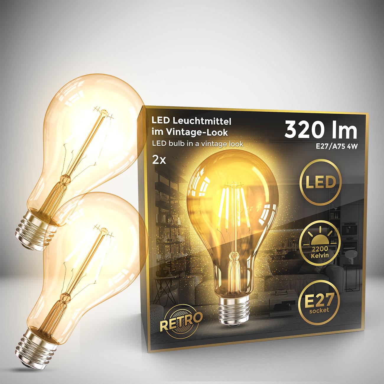 Retro Filament Leuchtmittel Modell A75 E27 | 2er Set