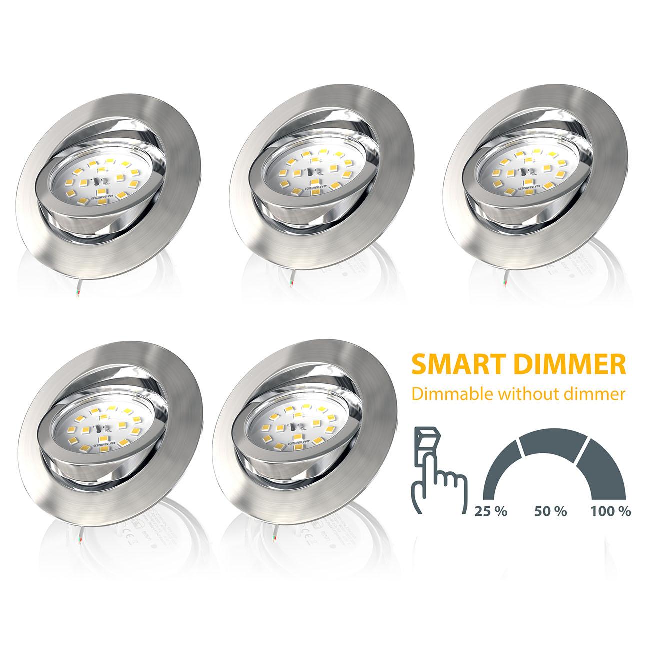 LED Einbaustrahler | Einbauleuchte 5er SET | 5,5W Stufendimmer schwenkbar - 7