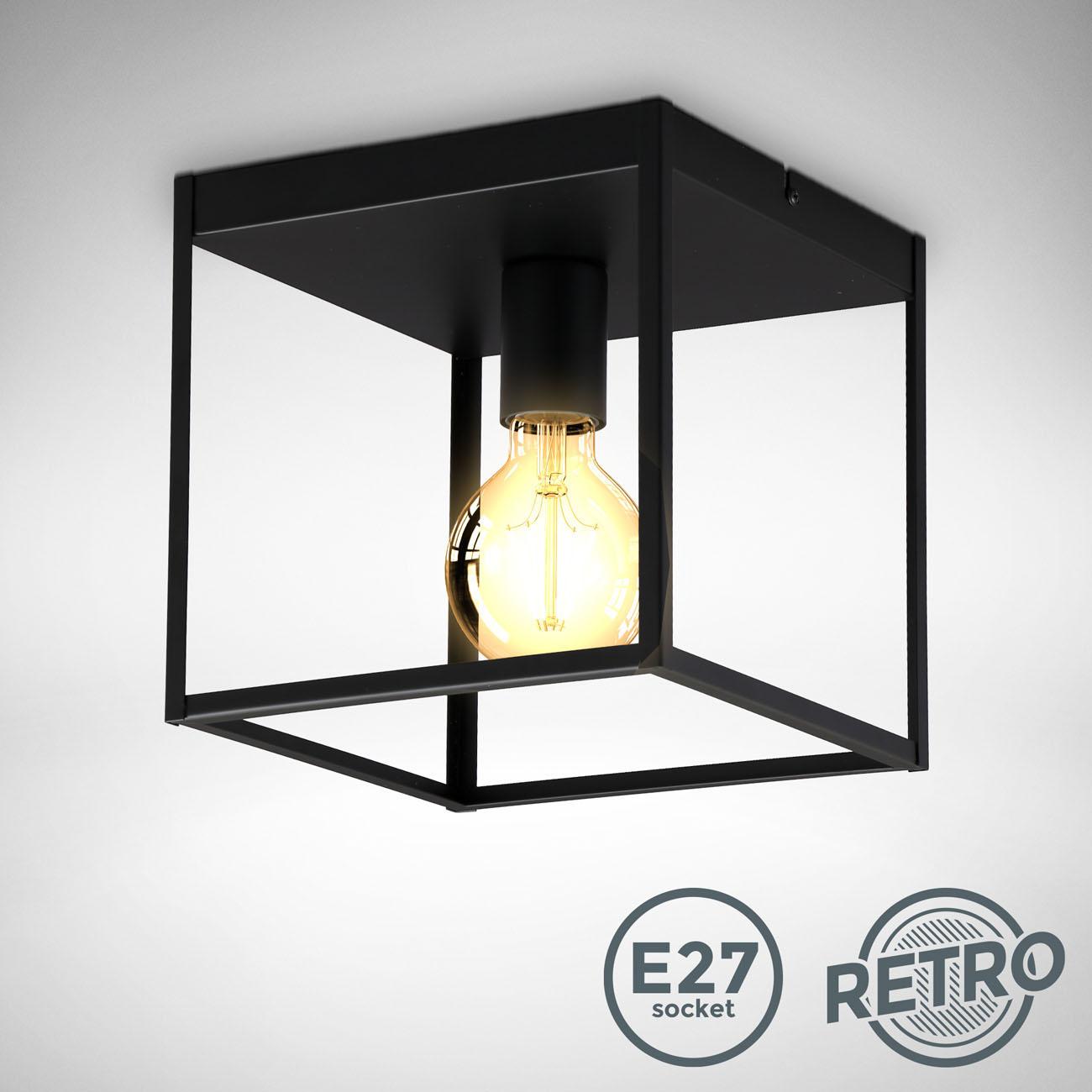 Vintage Käfig-Deckenleuchte Metall schwarz E27 - 3