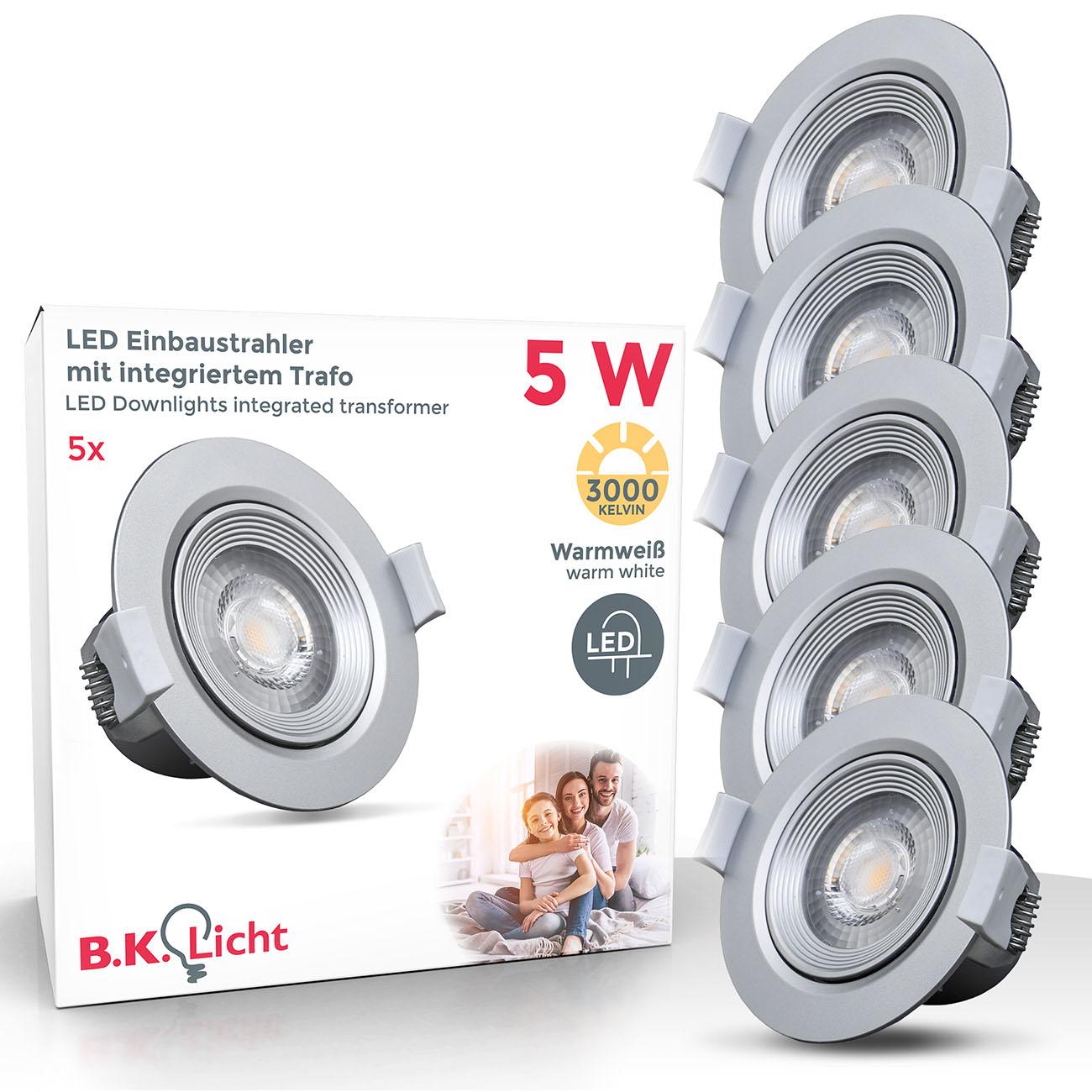 LED Einbaustrahler | Einbauleuchte 5er SET | 5W warmweiß