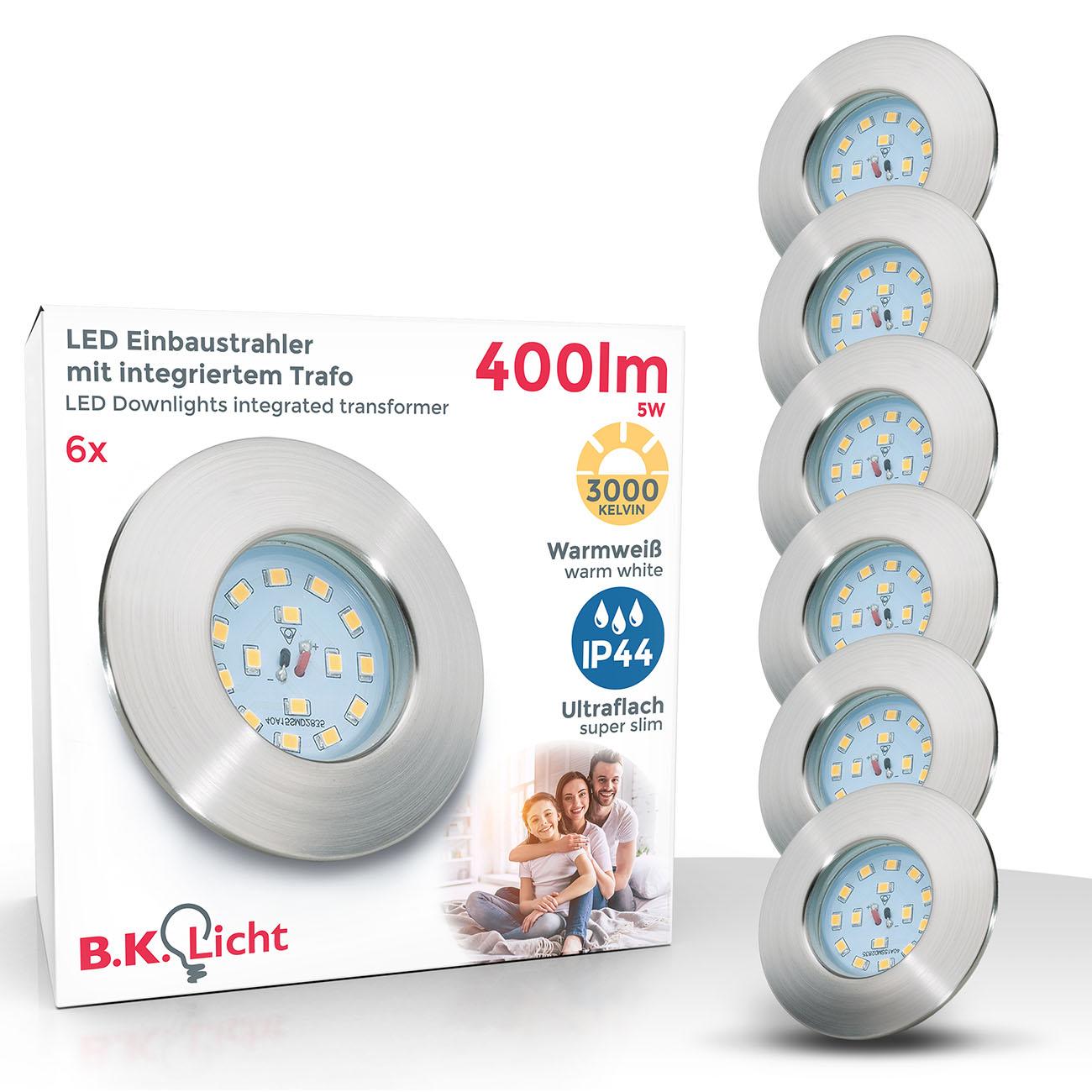LED Einbaustrahler | Bad Einbauleuchte 6er SET | ultraflach 5W IP44