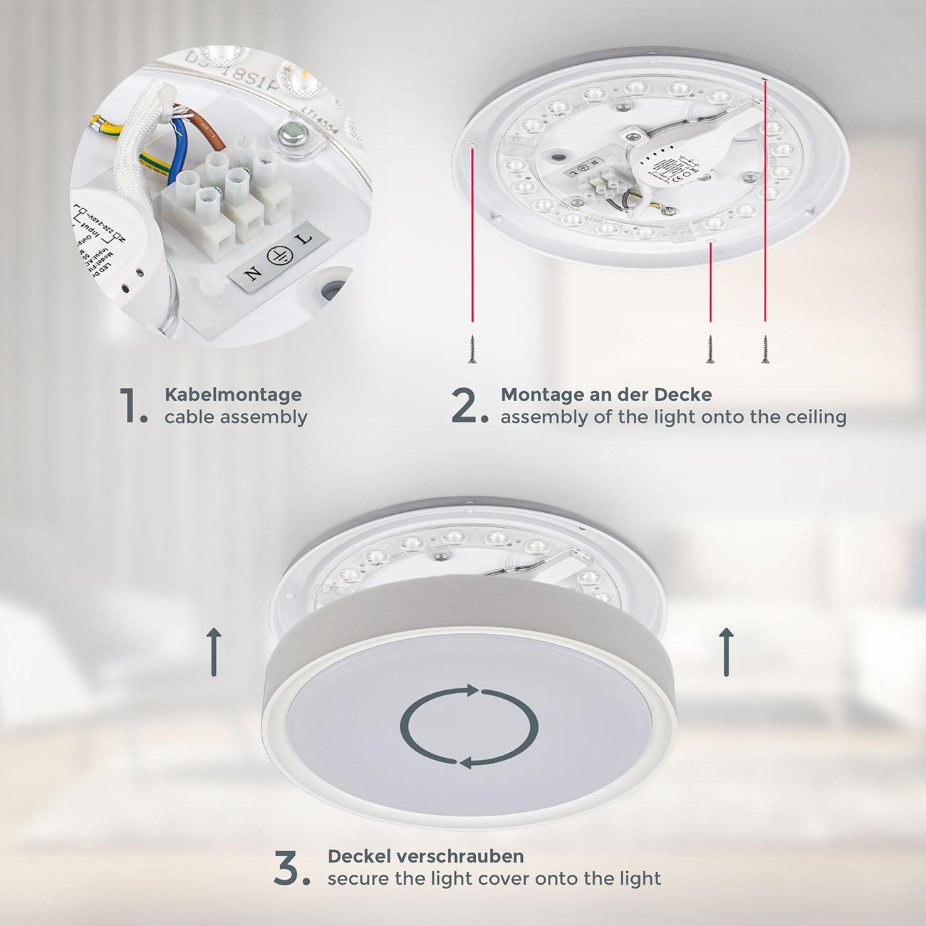 LED Deckenlampe neutralweiß rund  - 5