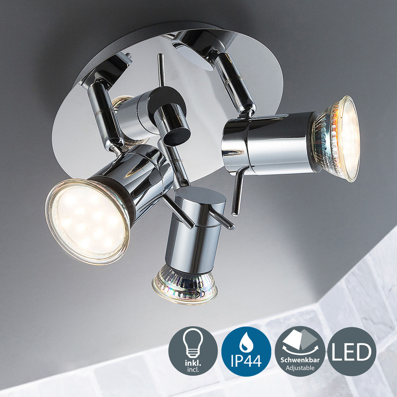 LED Deckenleuchte Badleuchte 3-flammig IPP44 glänzend - 3