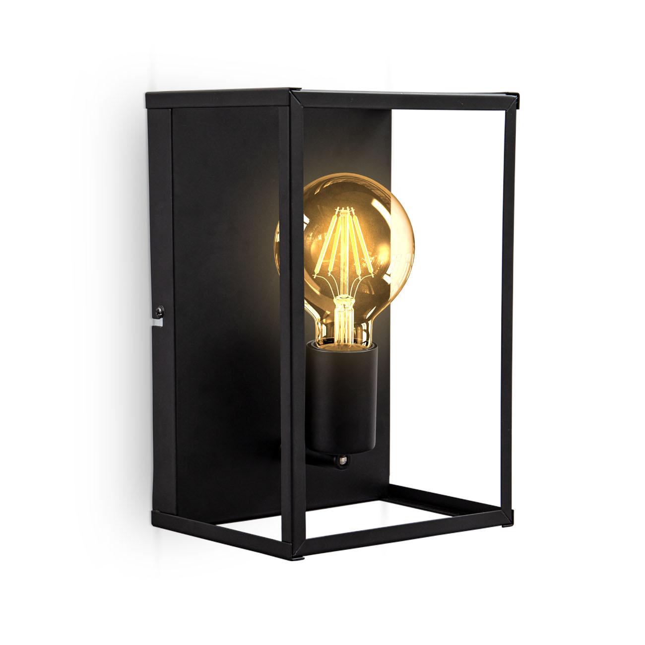 Vintage Käfig-Wandlampe Metall schwarz E27