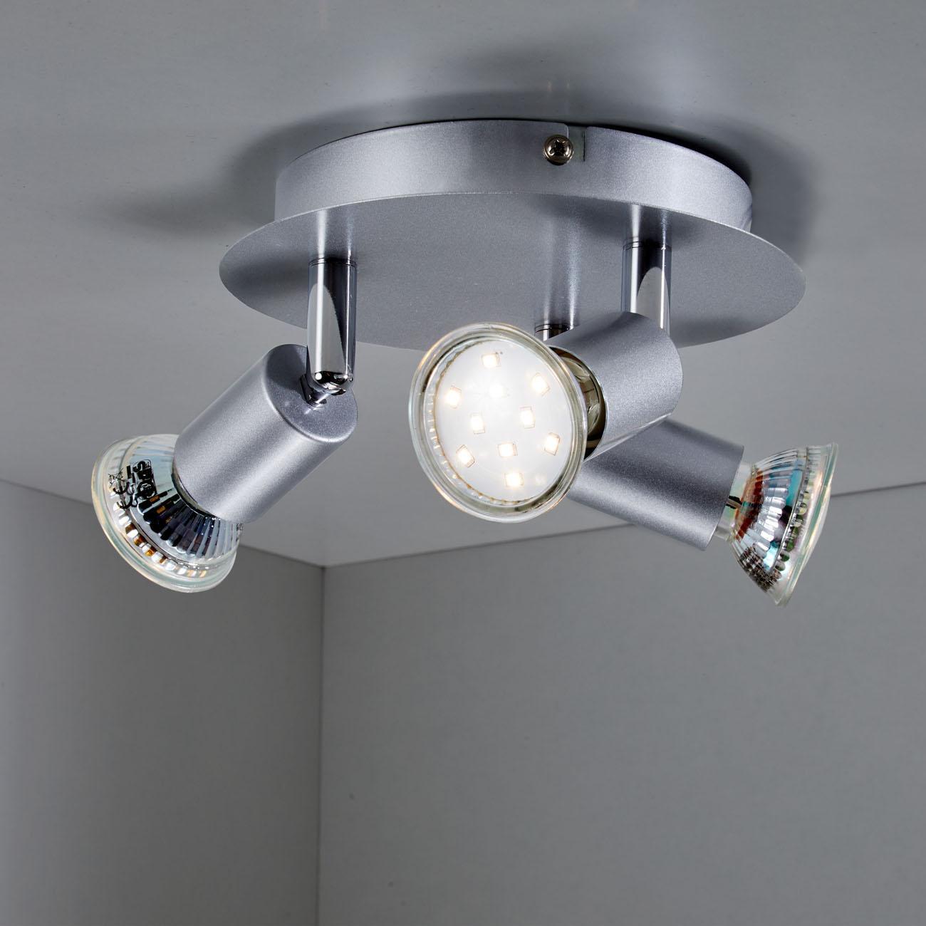 LED Deckenstrahler Deckenspot 3-flammig matt-nickel - 3