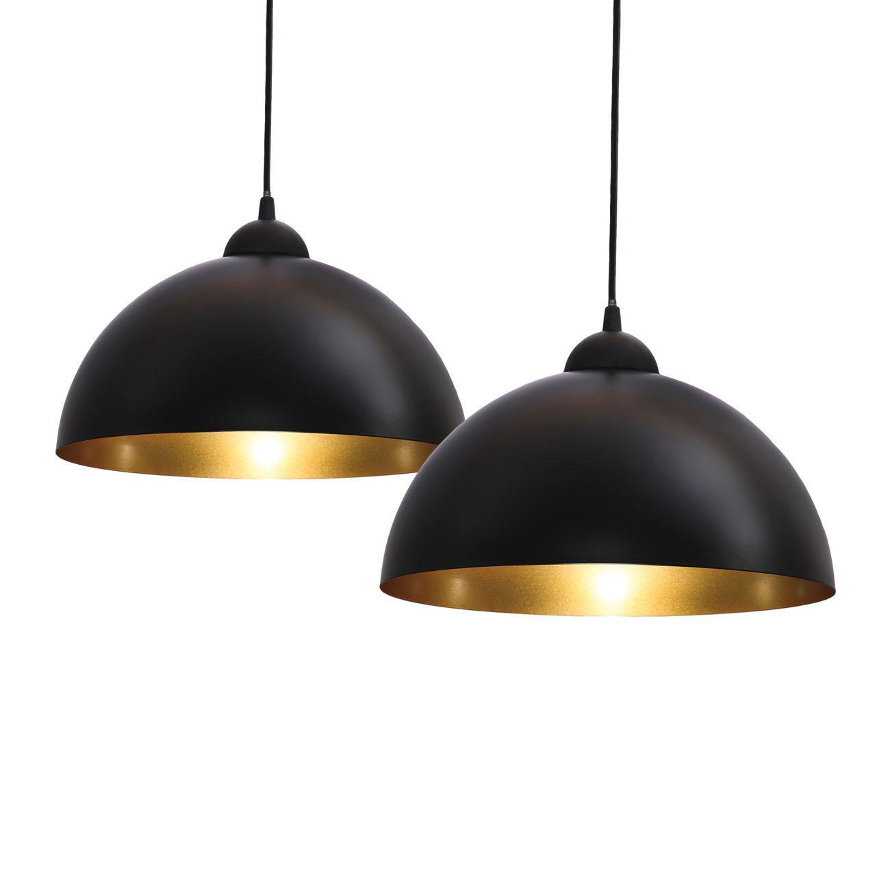Pendelleuchte schwarz-gold E27 | 2er Set