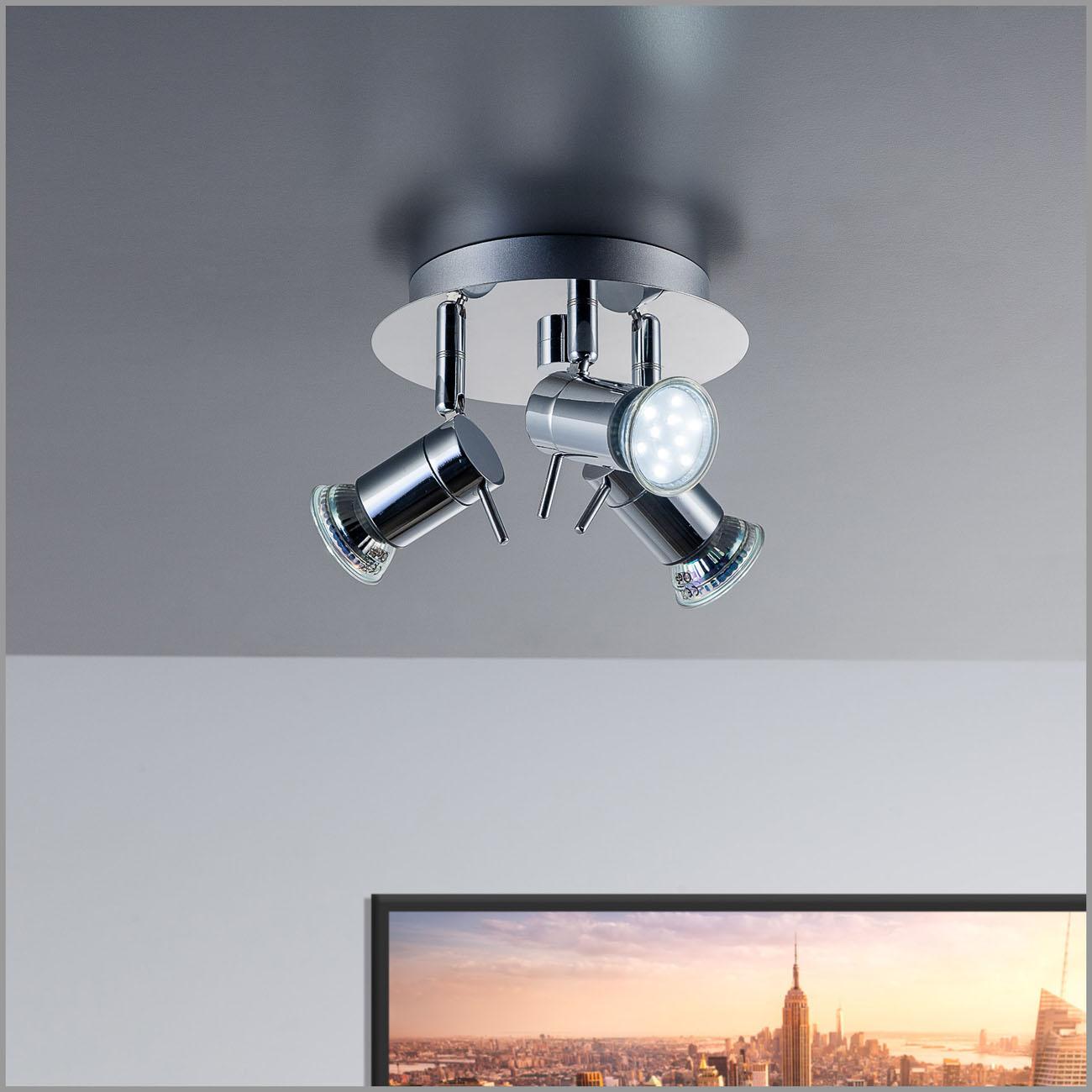 LED Deckenleuchte Badleuchte 3-flammig IPP44 glänzend