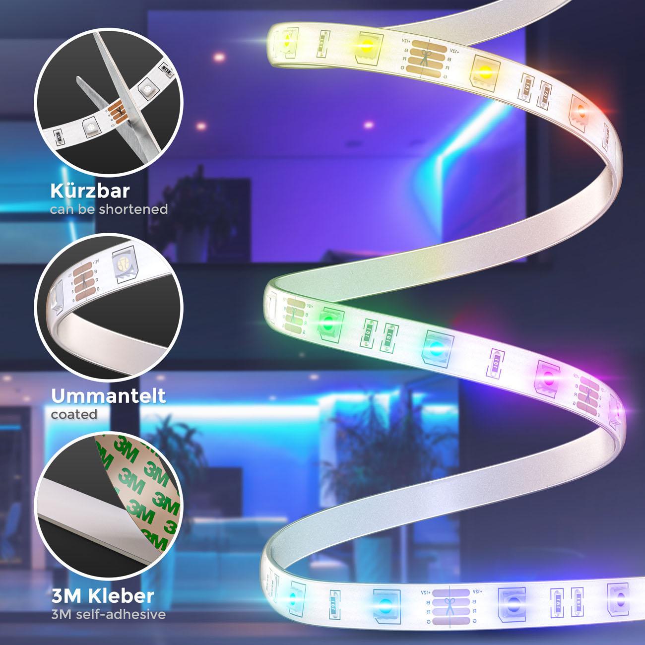 RGB LED Streifen mit Farbwechsel silikonbeschichtet 3m - 5