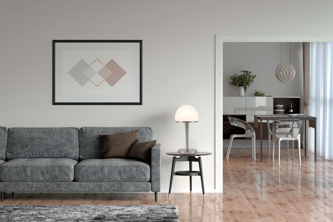 Tischleuchte mit Glasschirm dimmbar E14 matt-nickel - 9