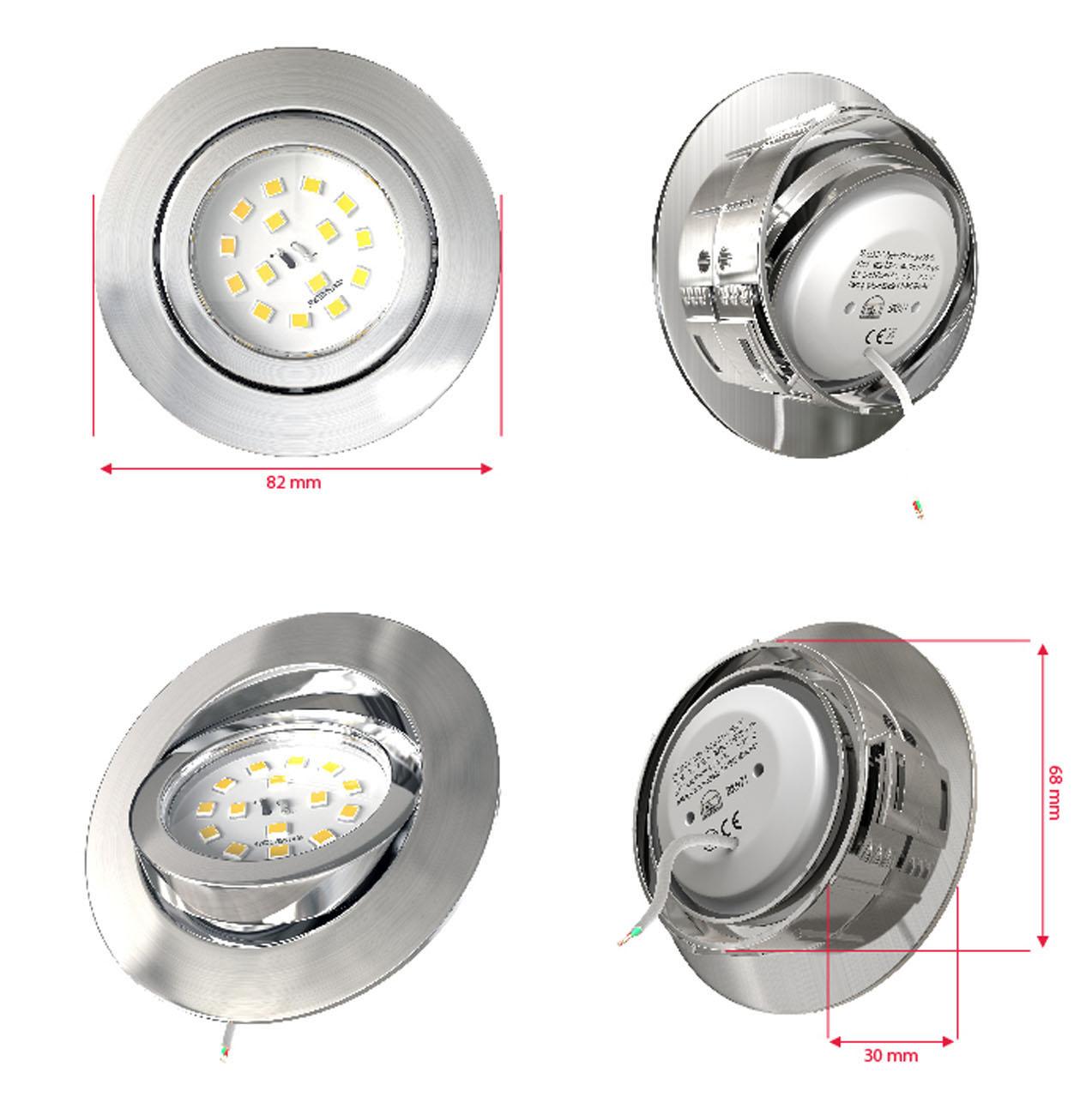LED Einbaustrahler | Einbauleuchte 5er SET | 5,5W Stufendimmer schwenkbar - 6