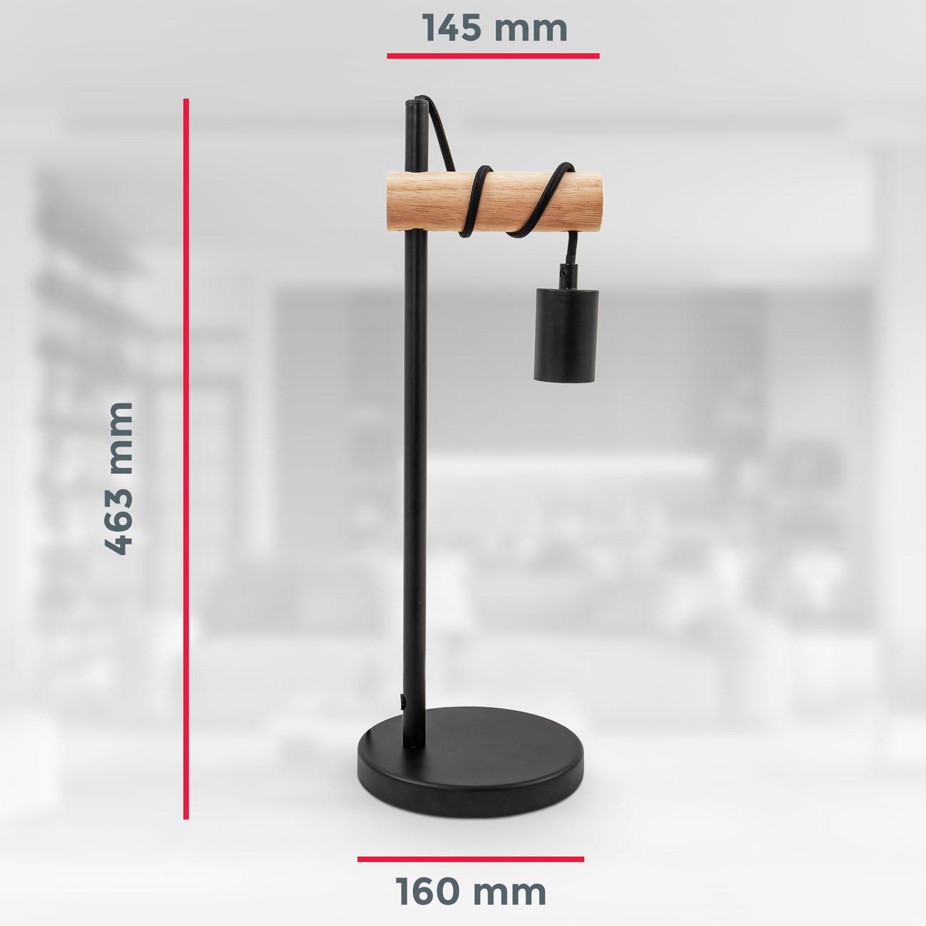 Retro Tischleuchte Metall-Holz-Optik schwarz E27 - 6