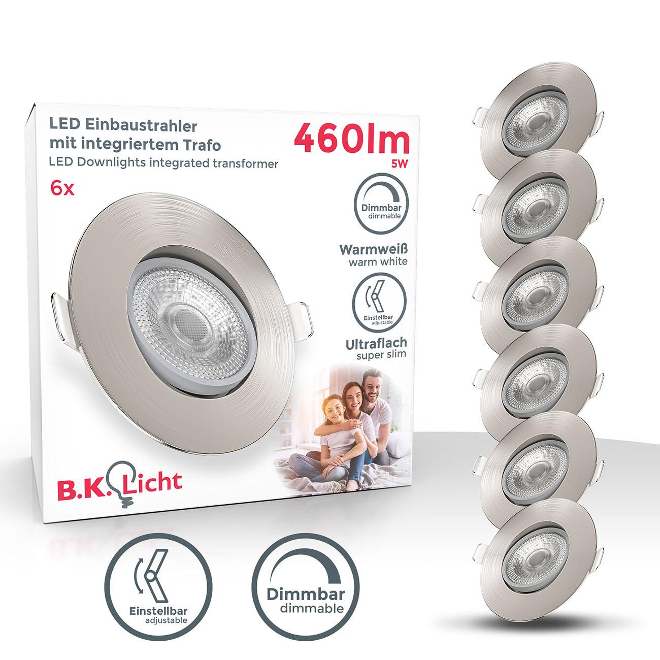 LED Einbaustrahler | Einbauleuchte 6er SET | ultra flach 5W schwenkbar dimmbar