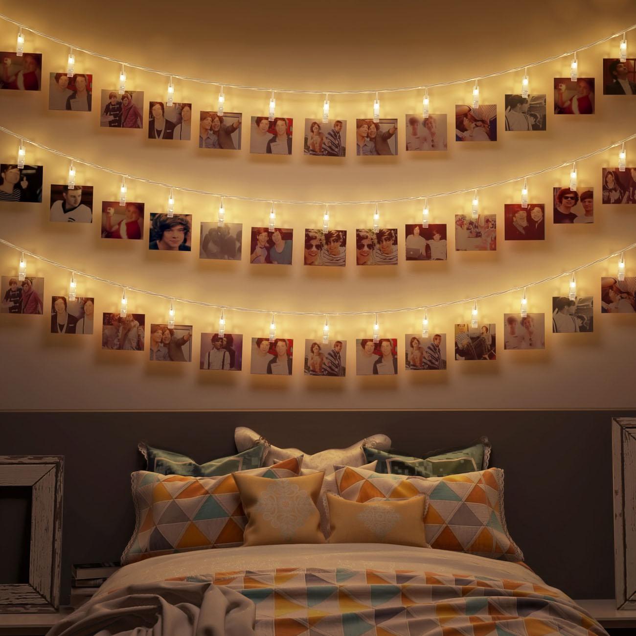 LED Fotolichterkette mit 40 Foto Clips 5m - 5