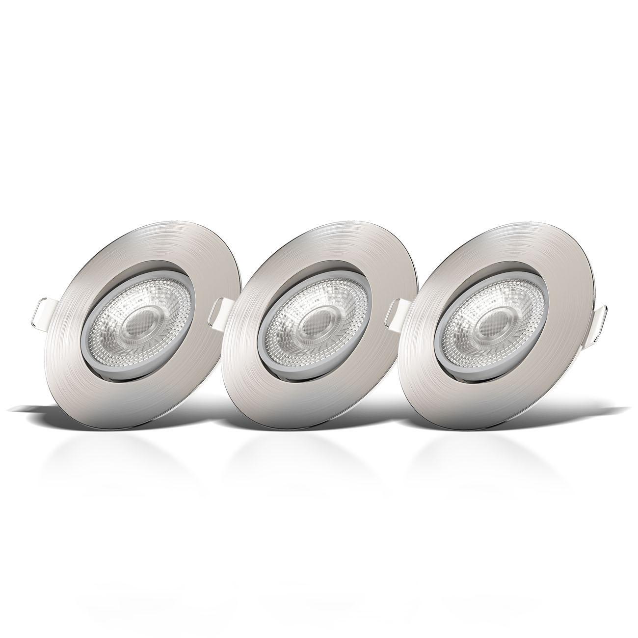 LED Einbaustrahler | Einbauleuchte 3er SET | ultra flach 5W schwenkbar dimmbar - 3