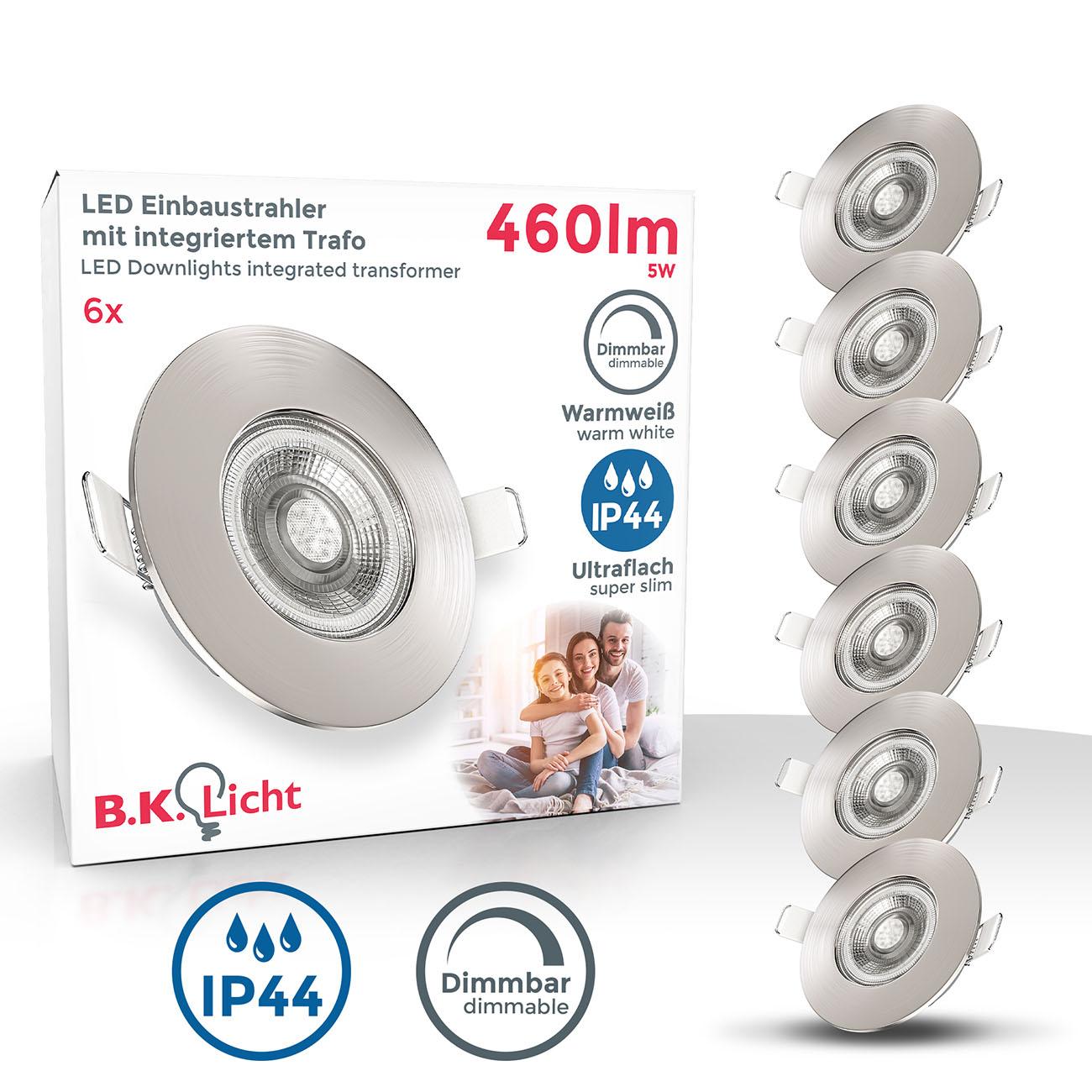 LED Einbaustrahler | Bad Einbauleuchte 6er SET | ultra flach 5W IP44 dimmbar
