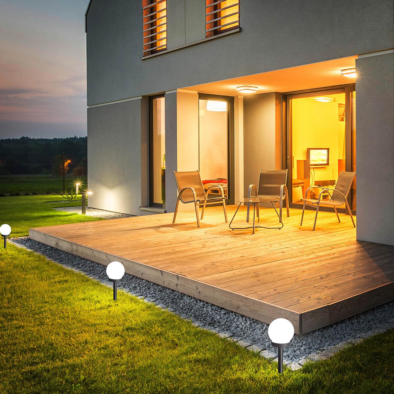 Solar LED Kugeln | Lampions  für Außen mit Erdspieß und Sensor