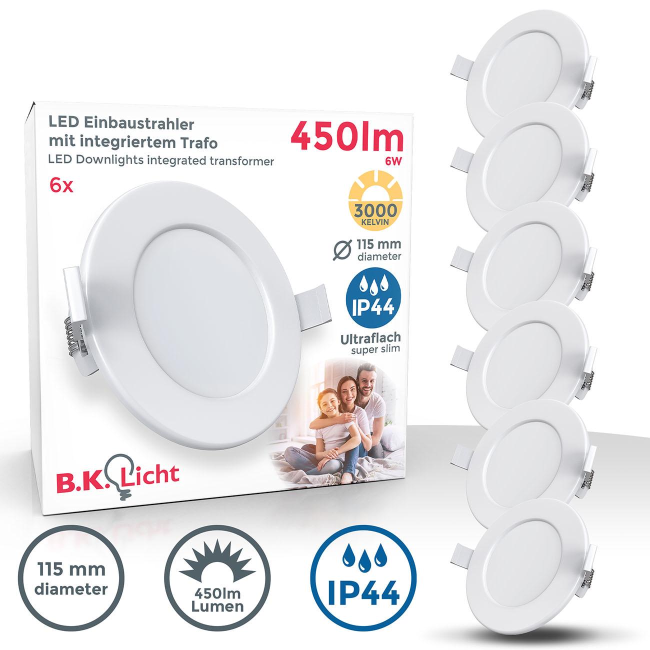 LED Einbaustrahler | Bad Einbauleuchte 6er SET | ultra flach 6W IP44 - 1
