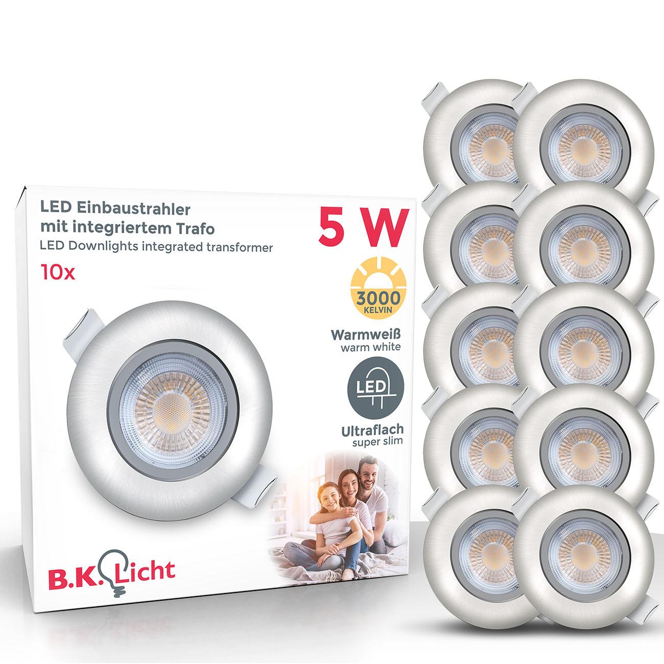 LED Einbaustrahler | Einbauleuchte 10er SET | ultra flach 5W schwenkbar