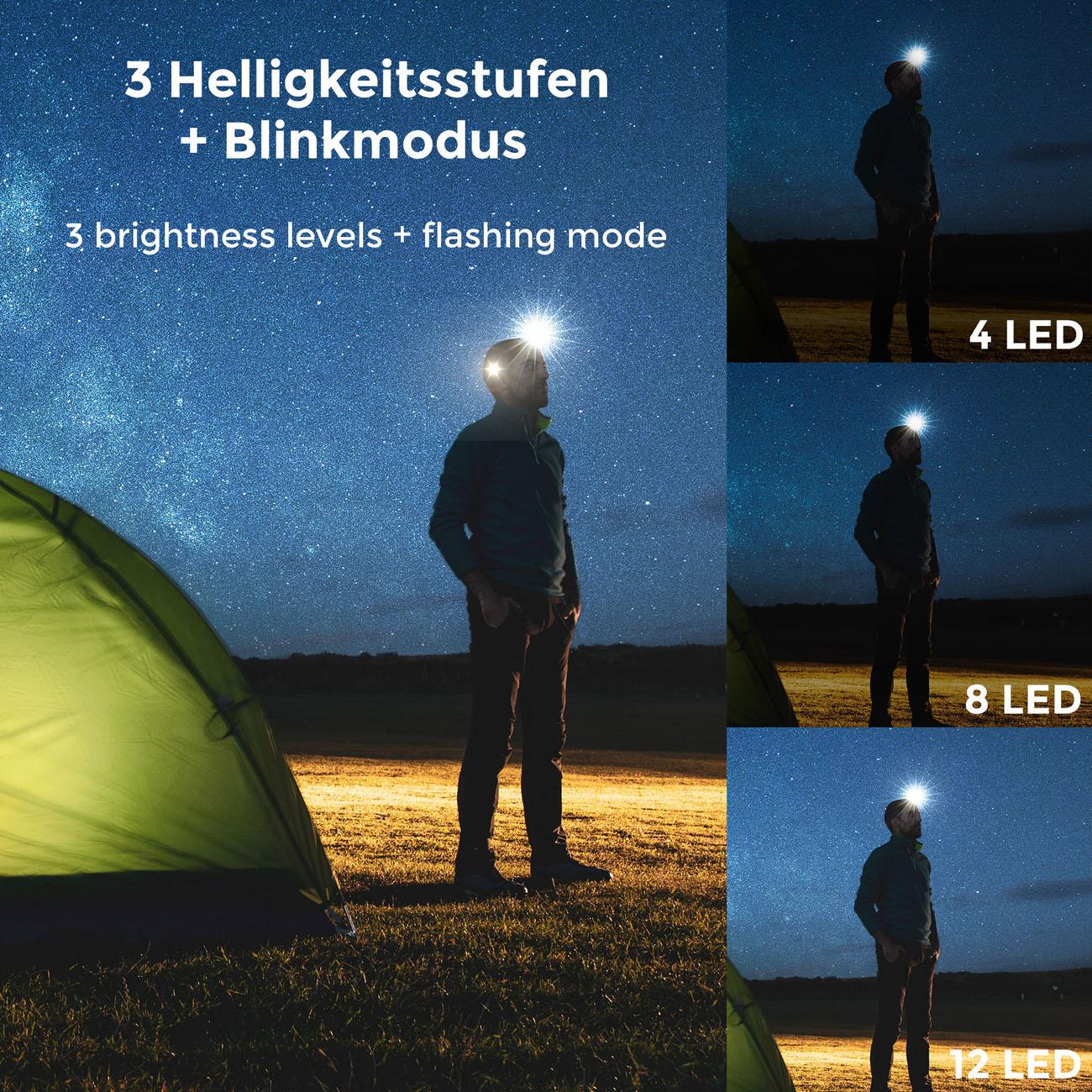 LED Outdoor Kopfleuchte mit Batteriebetrieb IP44 - 4