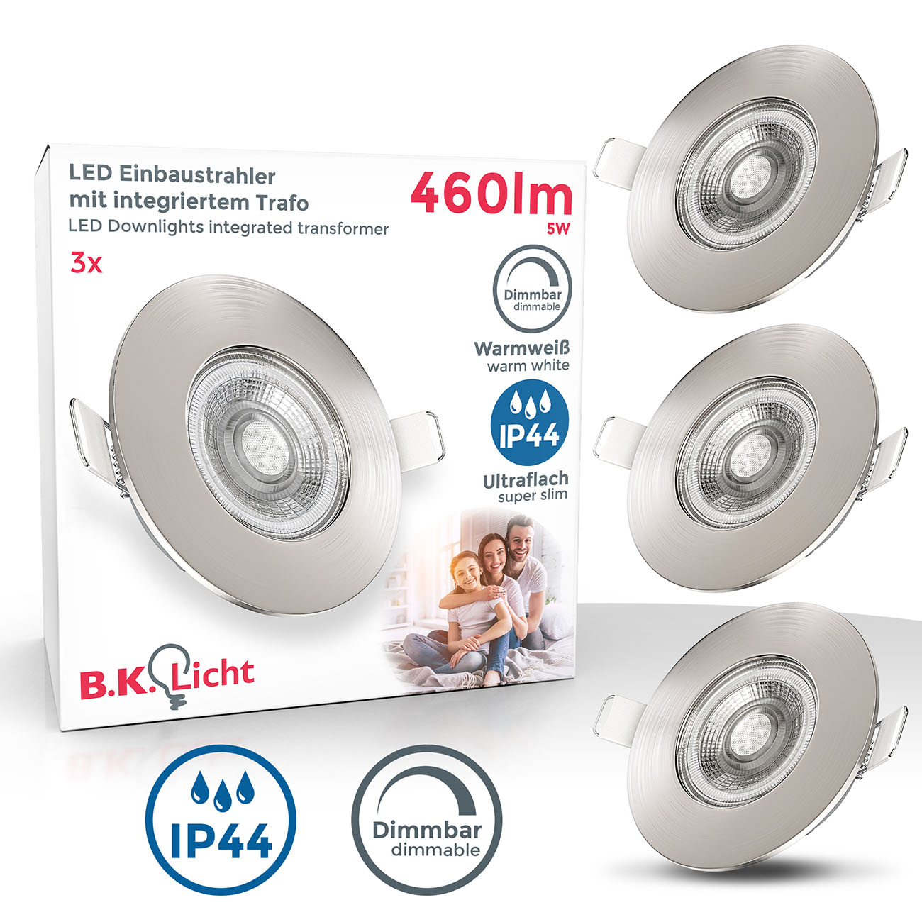 LED Einbaustrahler | Bad Einbauleuchte 3er SET | ultra flach 5W IP44 dimmbar