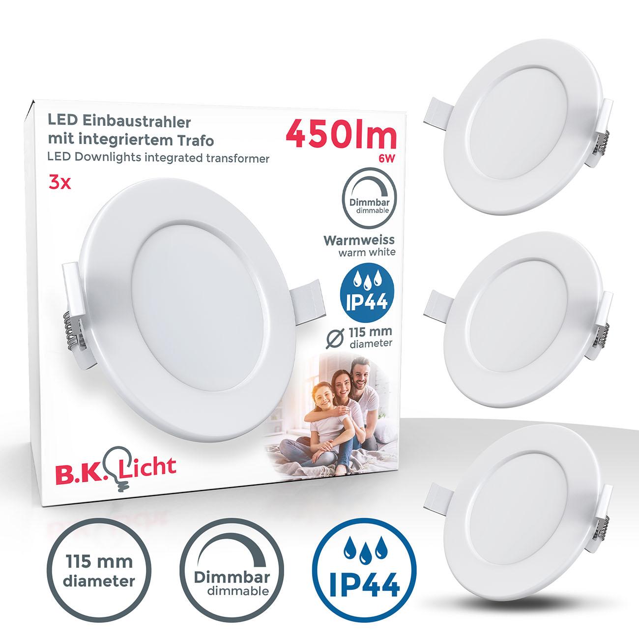 LED Einbaustrahler | Bad Einbauleuchte 3er SET | ultra flach 6W IP44 dimmbar