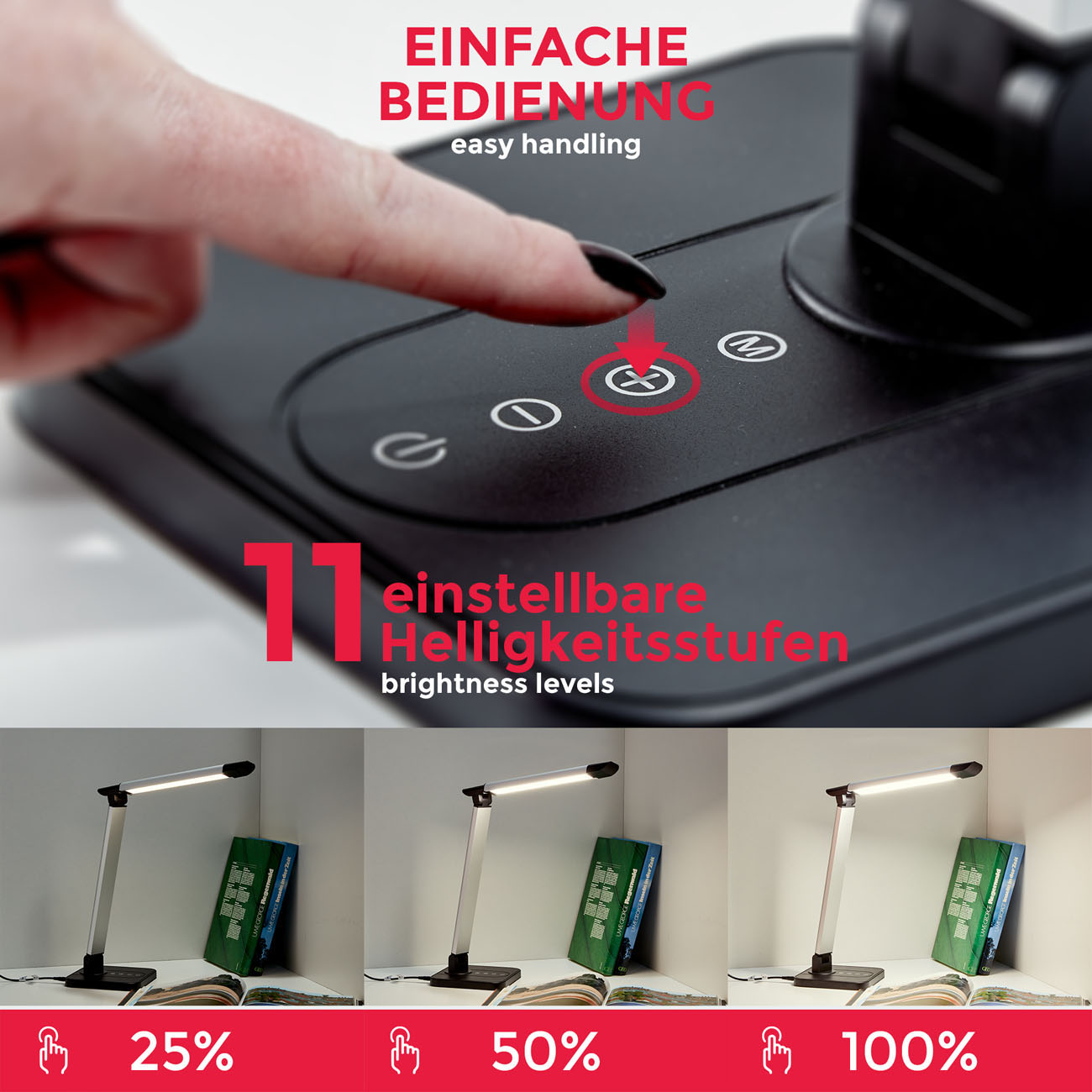 LED Schreibtischleuchte schwenkbar dimmbar schwarz - 5