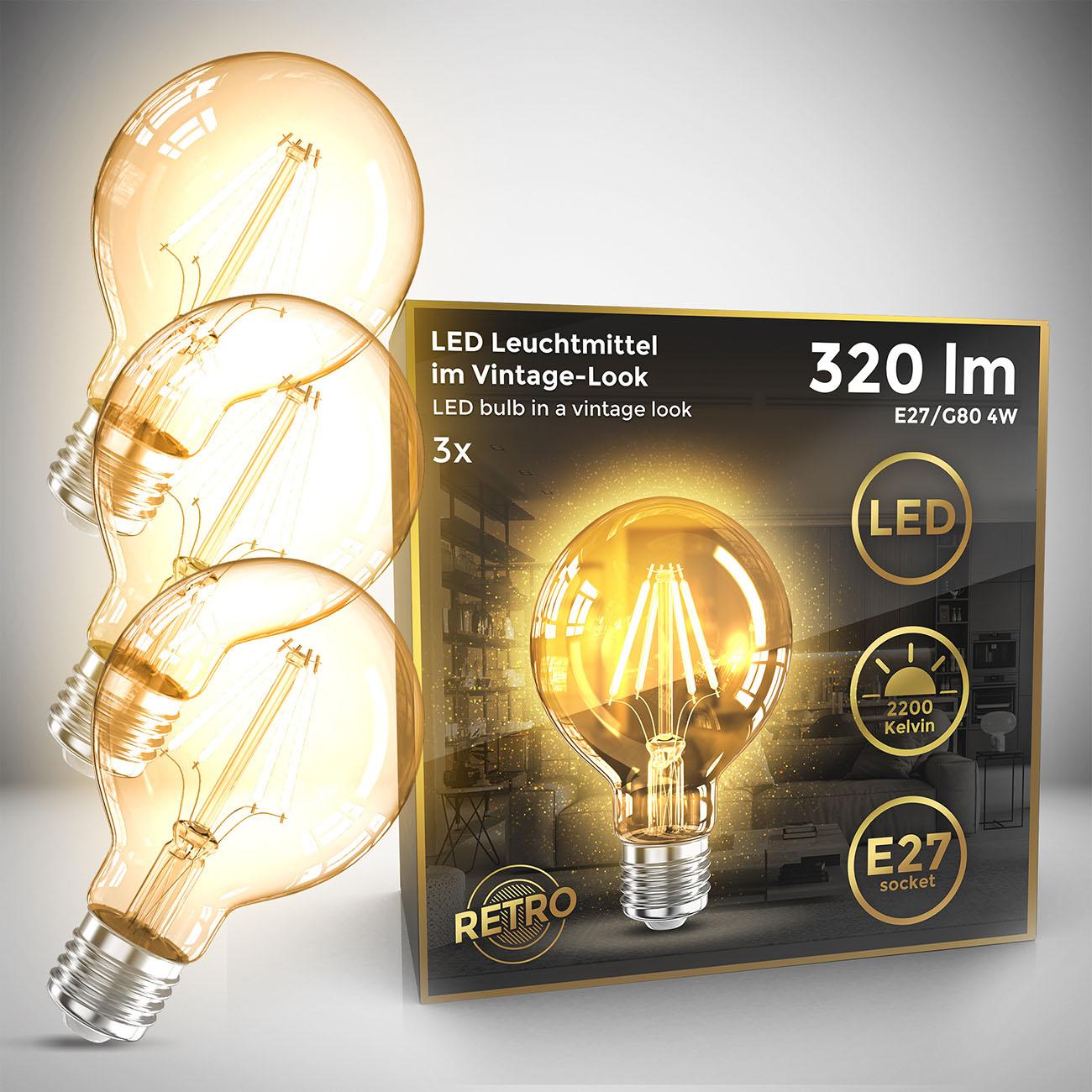 Retro Filament Leuchtmittel Modell G80 E27 | 3er Set
