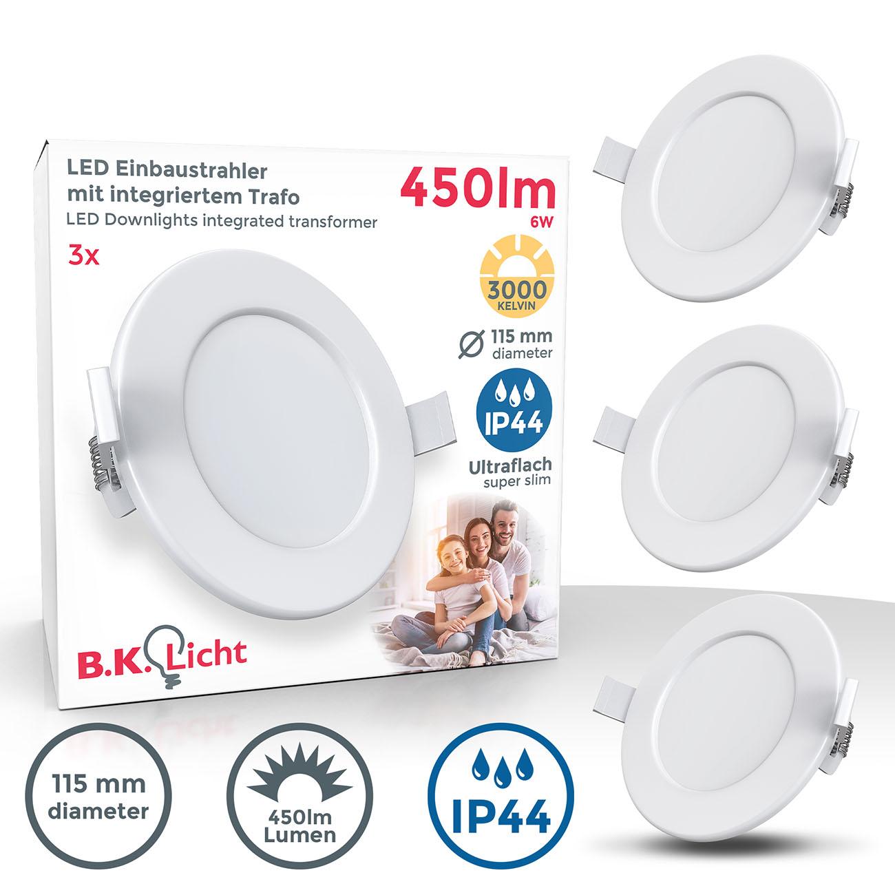LED Einbaustrahler | Bad Einbauleuchte 3er SET | ultra flach 5W IP44