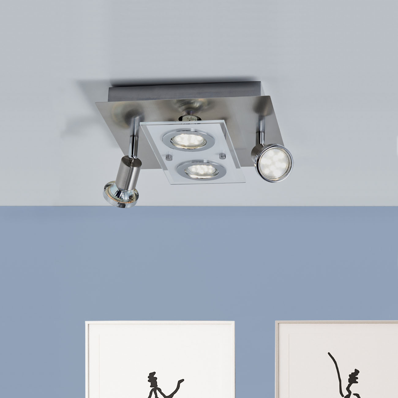 LED Kombi Deckenleuchte Spotleuchte 4-flammig  - 2