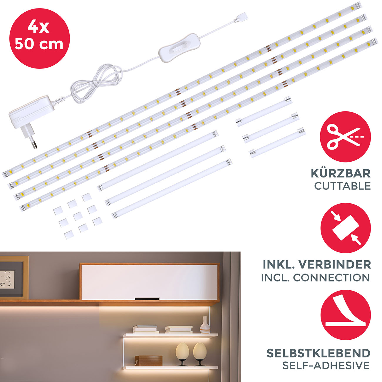 LED Lichtband weiß 2m | 4 Streifen - 3