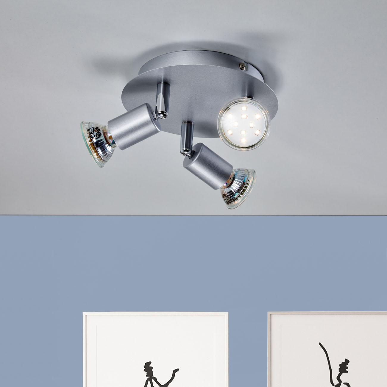 LED Deckenstrahler Deckenspot 3-flammig matt-nickel - 2