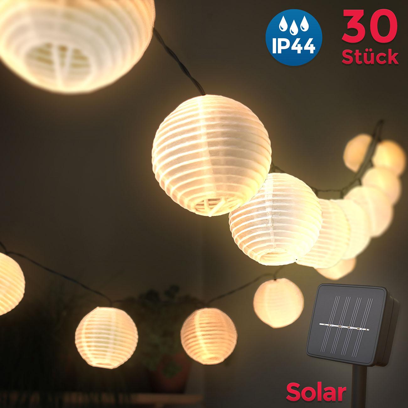 LED Außenlicherkette Solar Lampions 6m - 2