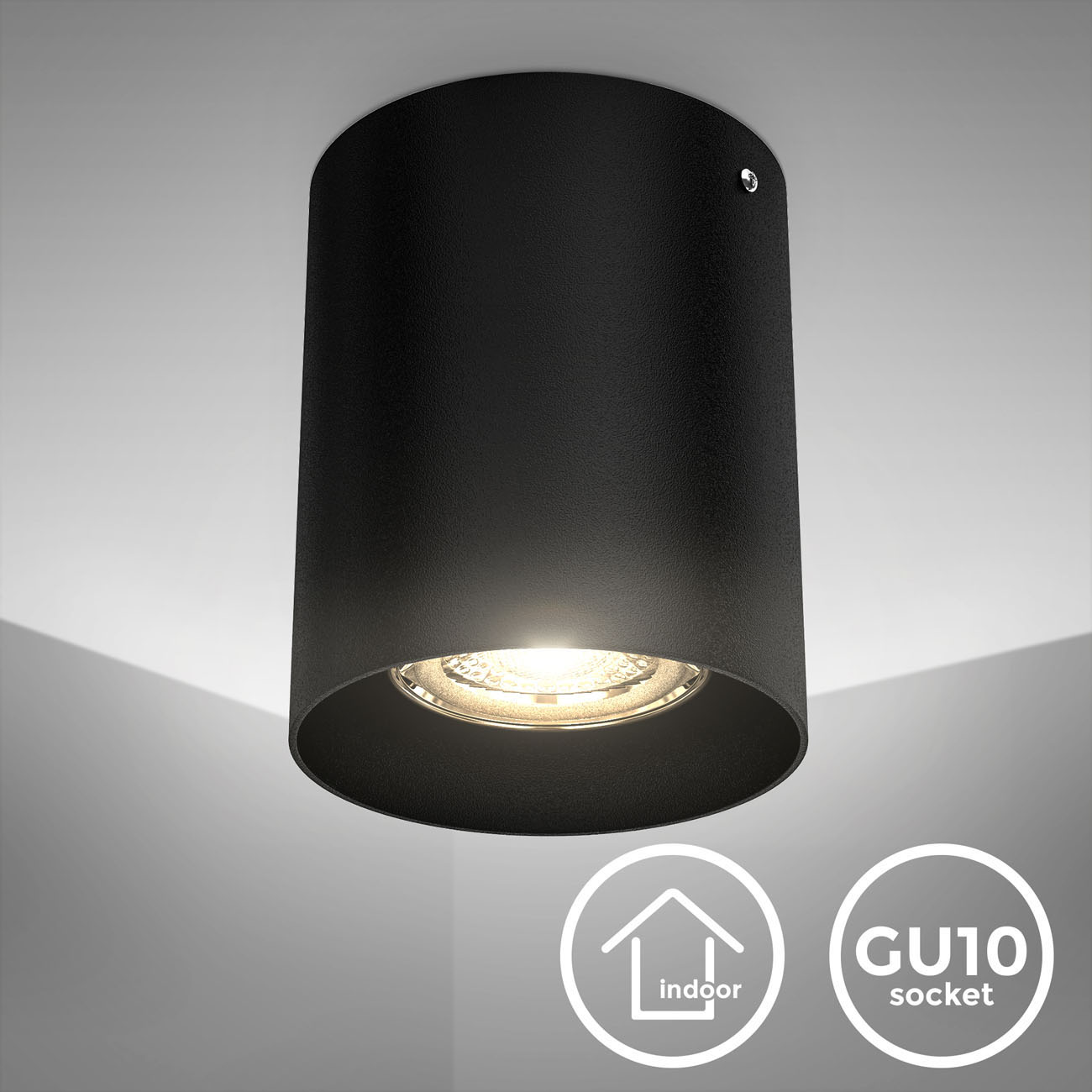 Aufbauleuchte schwarz rund GU10 - 3