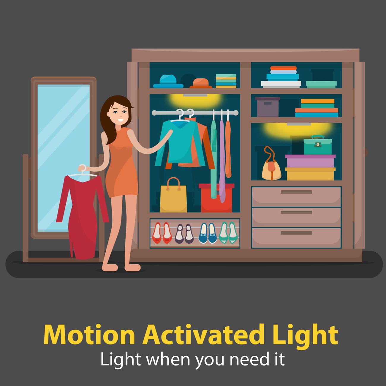 LED Schranklicht Nachtlicht mit Bewegungsmelder | 2er Set - 8