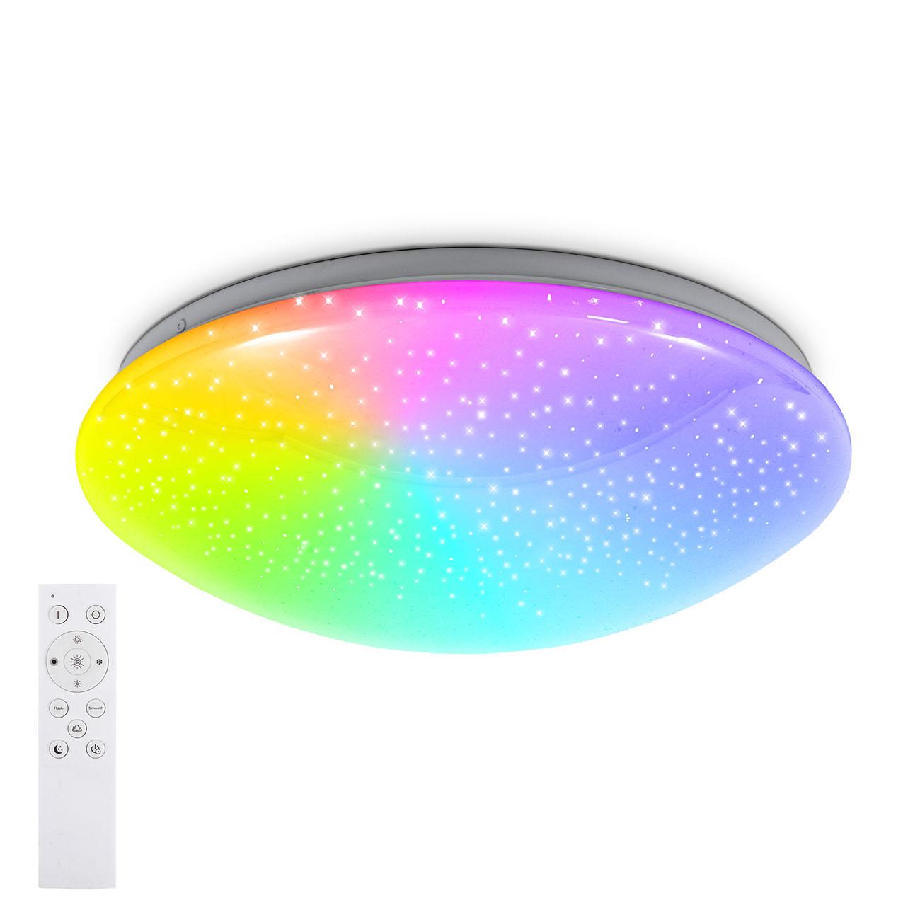 CCT RGBW LED Deckenleuchte mit Sternendekor weiß - 1
