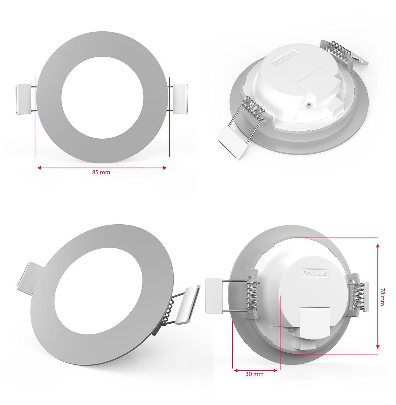 LED Einbaustrahler | Einbauleuchte 5er SET | ultra flach 5W - 6