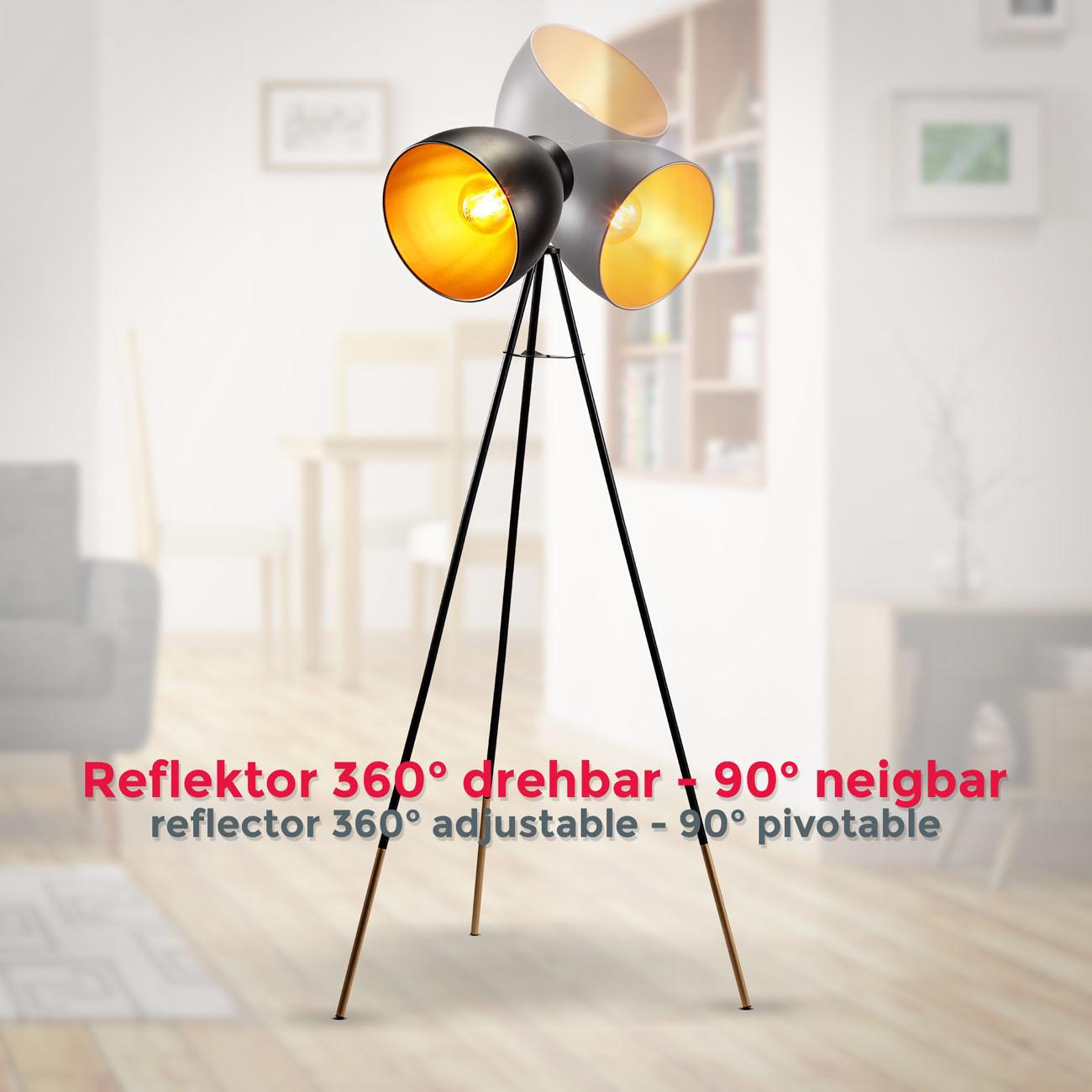 Retro Stehleuchte schwarz-gold E27 - 5