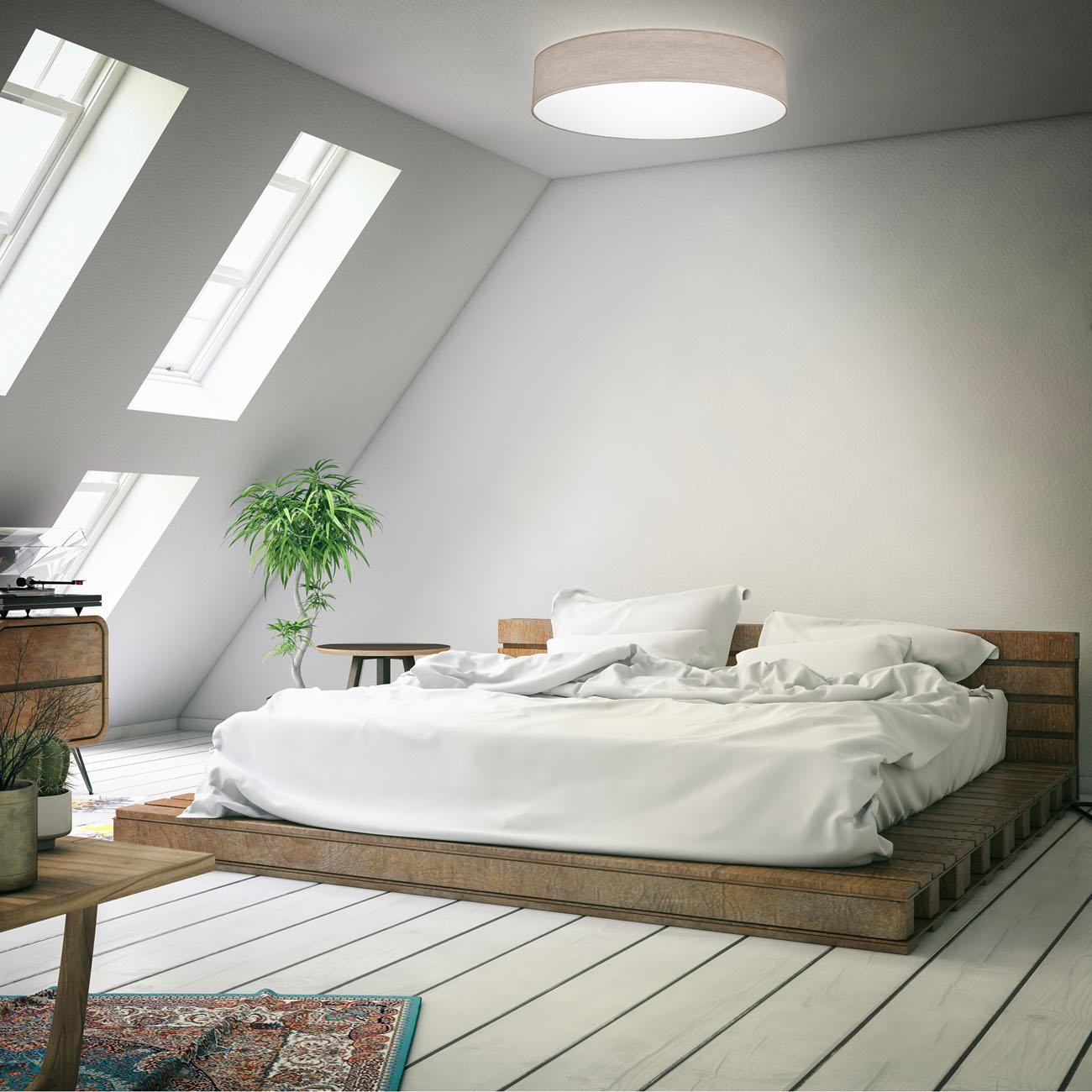 LED  Deckenleuchte mit Stoffschirm taupe
