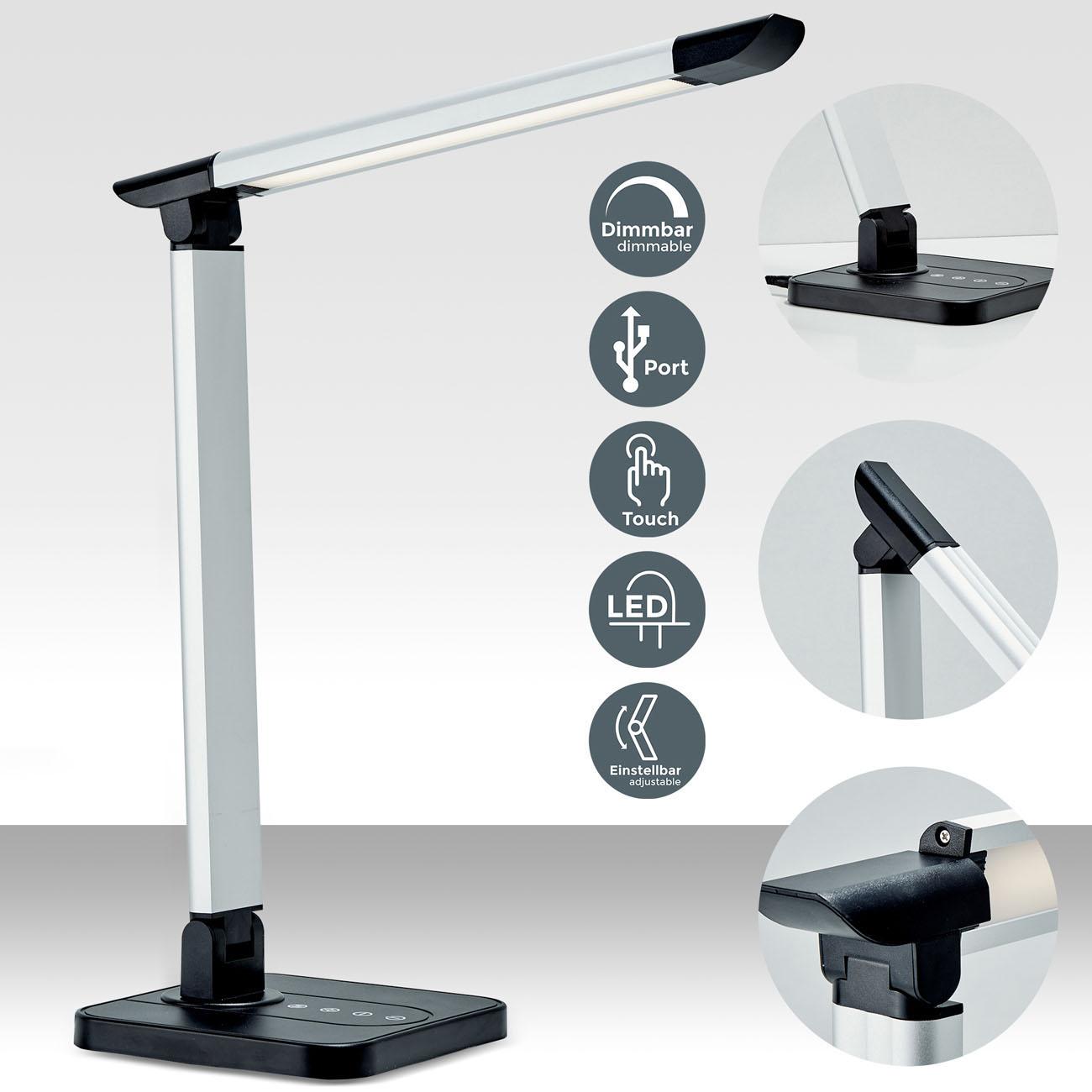 LED Schreibtischleuchte schwenkbar dimmbar schwarz - 3
