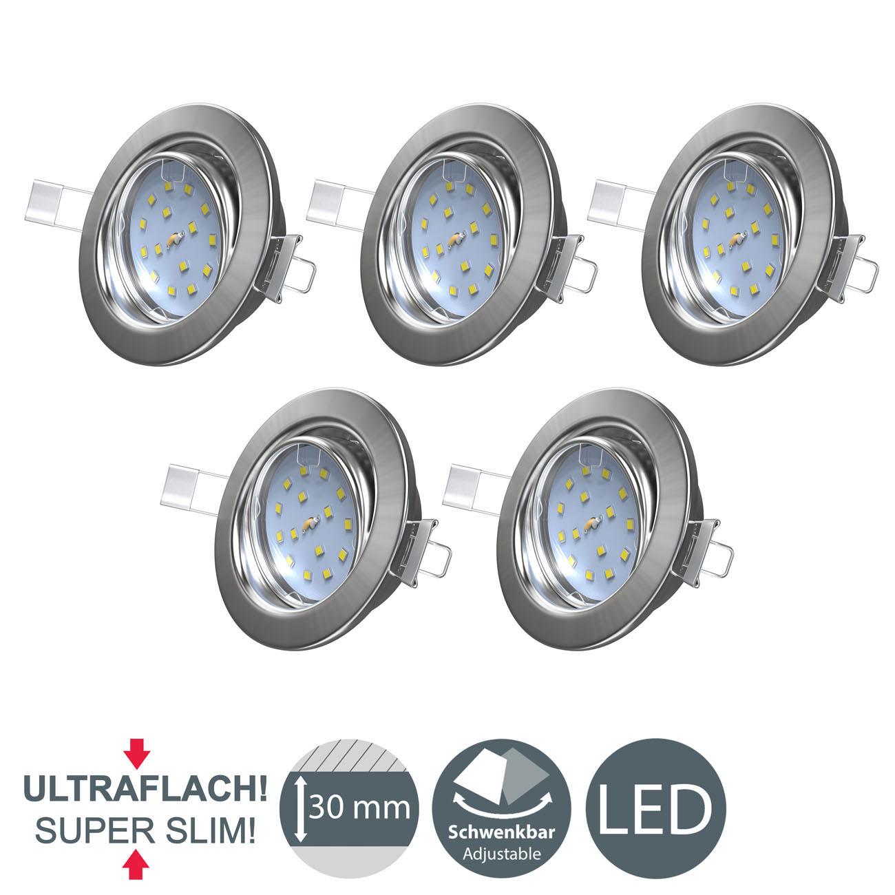 LED Einbaustrahler   Einbauleuchte 5er SET   5W schwenkbar - 8