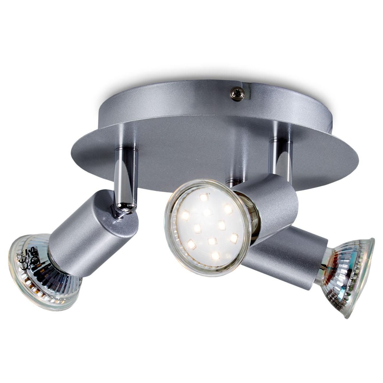 LED Deckenstrahler Deckenspot 3-flammig matt-nickel - 1