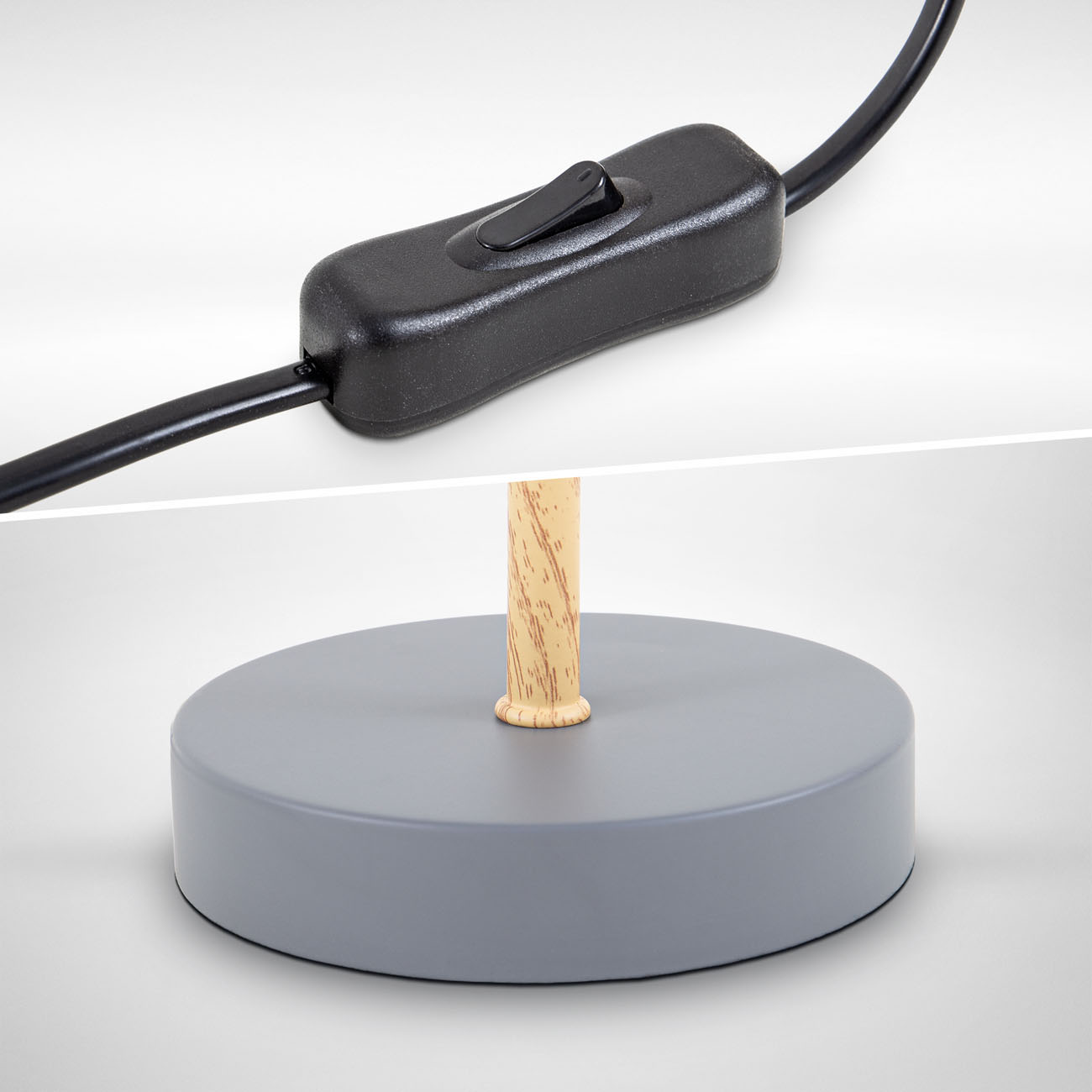 Tischleuchte mit Stoffschirm Holz-Metall grau - 5