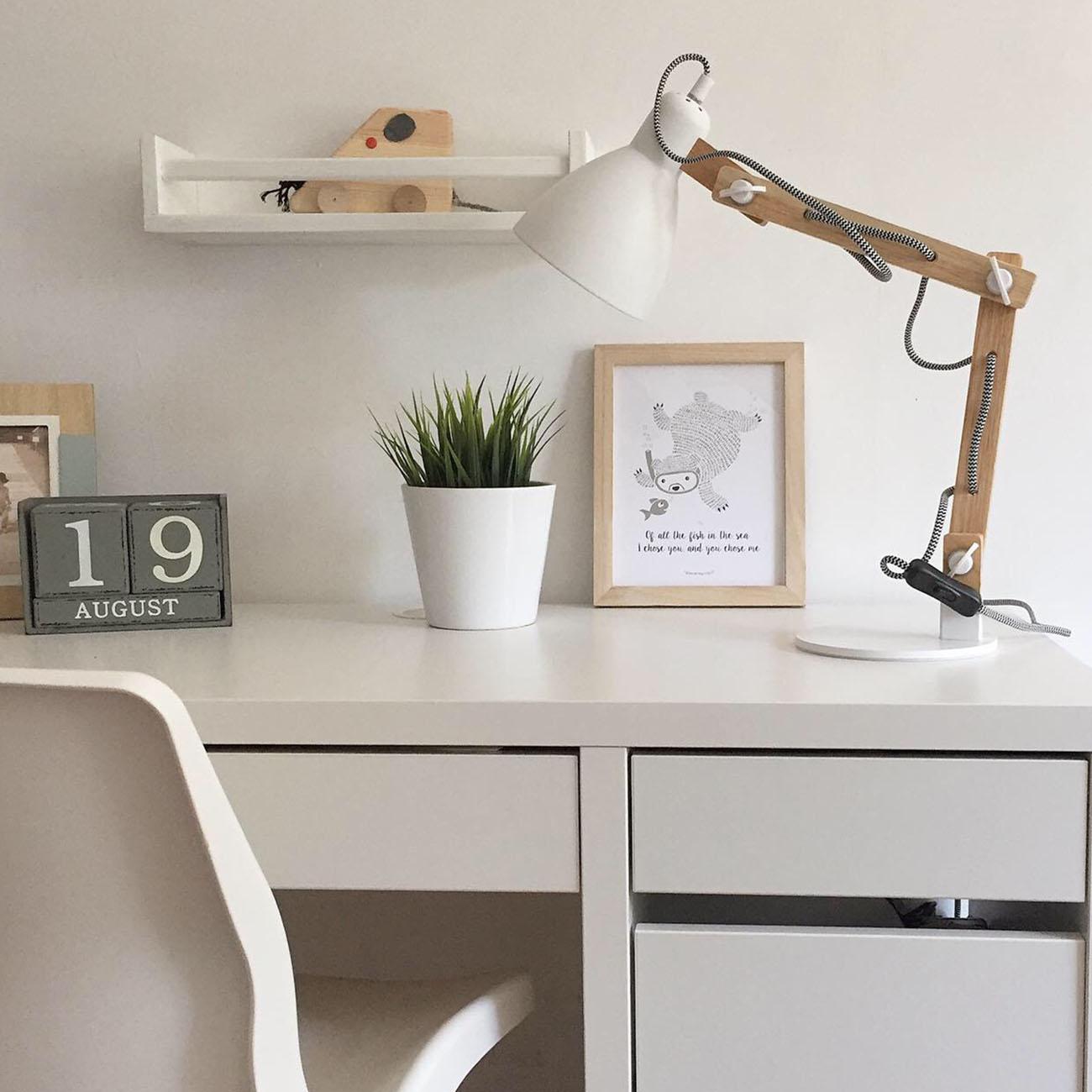 Tischleuchte Holz-weiß verstellbar E27