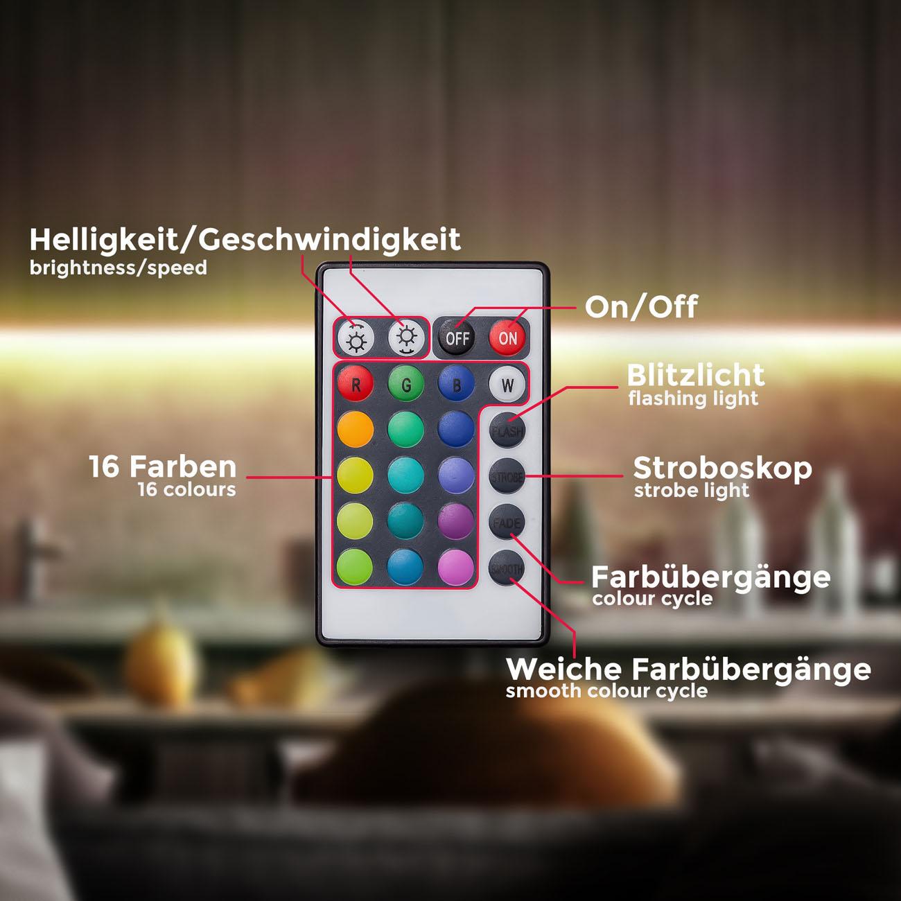 RGB LED Streifen mit Farbwechsel 3m - 6
